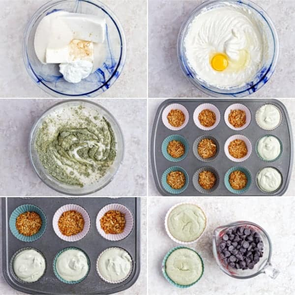 Step by step photos how to mix cream cheese with sugar, eggs and matcha to make green tea cheesecake.
