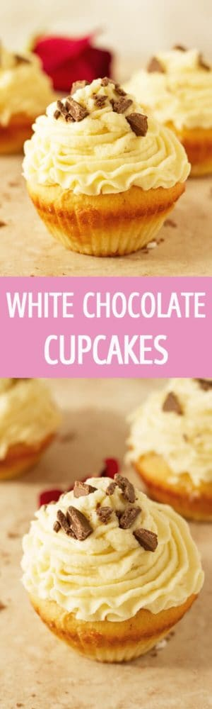 Delicious and moist white chocolate cupcakes recipe with fluffy white chocolate frosting and chocolate chips. Great for party ideas by ilonaspassion.com I @ilonaspassion