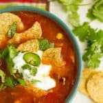 Soup with Mexican taco flavors with lots of toppings is perfect for parties.