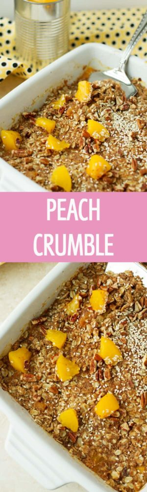 Healthy Peach Crumble recipe with coconut sugar , peaches, cinnamon and oats. Great breakfast, brunch or dessert idea. by ilonaspassion.com I @ilonaspassion #ad
