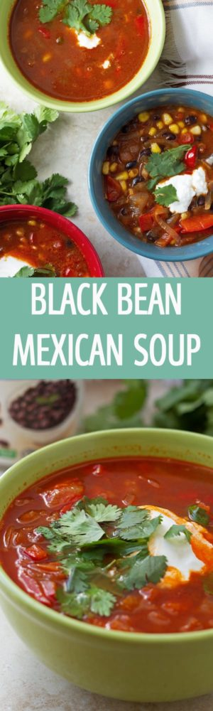 Healthy Mexican inspired soup recipe with corn, tomatoes, pepper and black beans. Yummy, delicious and great for soup party by ilonaspassion.com I @ilonaspassion