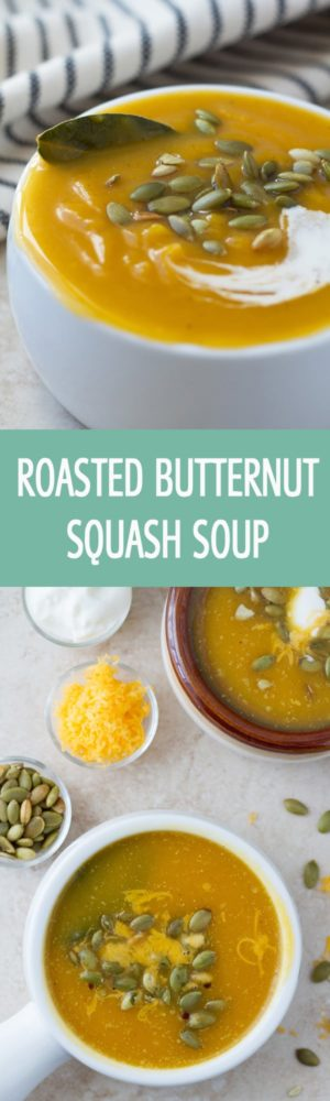 Easy to make healthy roasted butternut squash soup recipe seasoned with cumin. Creamy soup simply made with baked butternut squash. Great for entertaining by ilonaspassion.com I @ilonaspassion