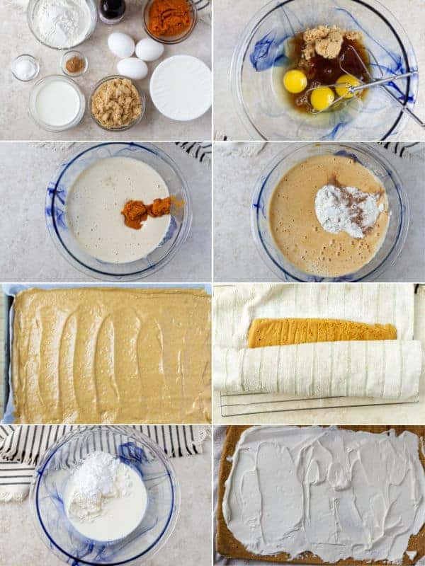 A step by step on how to make a pumpkin roll cake by y combining all ingredients and rolling by ilonaspassion.com I @ilonaspassion
