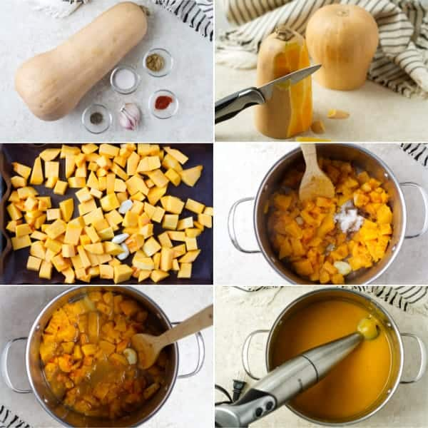 Step by step on how to make butternut squash soup by gathering ingredients, cooking and blending by ilonaspassion.com I @ilonaspassion