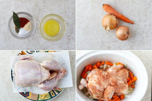 Step by step pn how to make roast chicken in crockpot with onions and carrots by ilonaspassion.com I @ilonaspassion