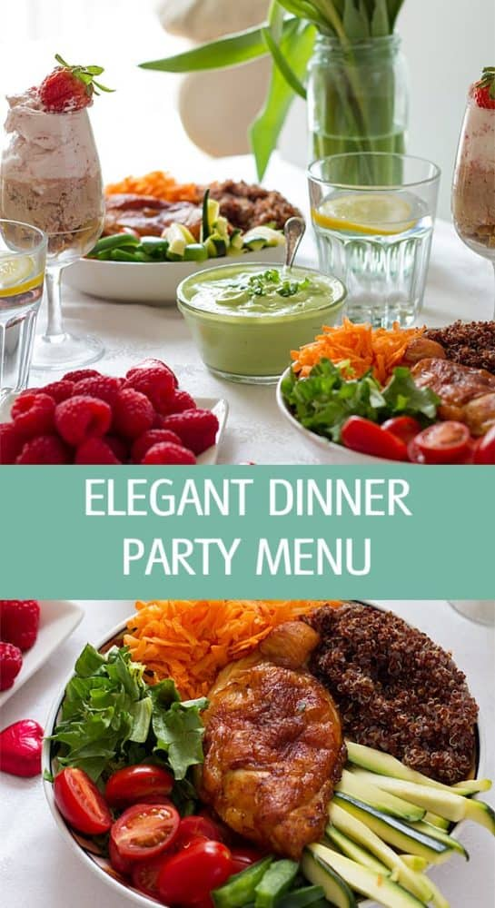 Elegant dinner party menu ideas for tonight with chicken recipe and chocolate strawberry mousse recipe for two. Healthy and cheap night dinner ideas by ilonaspassion.com I @ilonaspassion