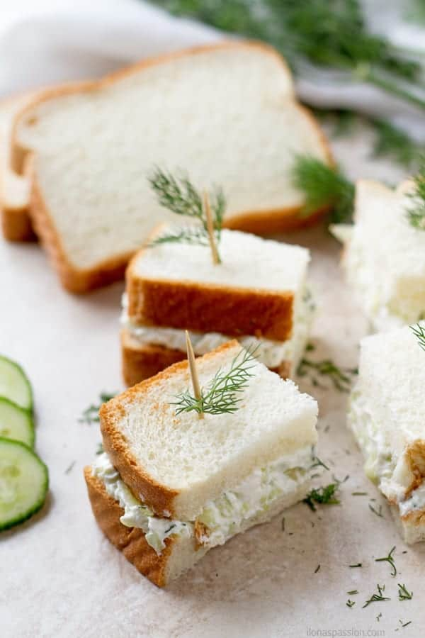 Mini sandwich made with dill, english cucumber and sour cream perfect for a crowd by ilonaspassion.com I @ilonaspassion.com