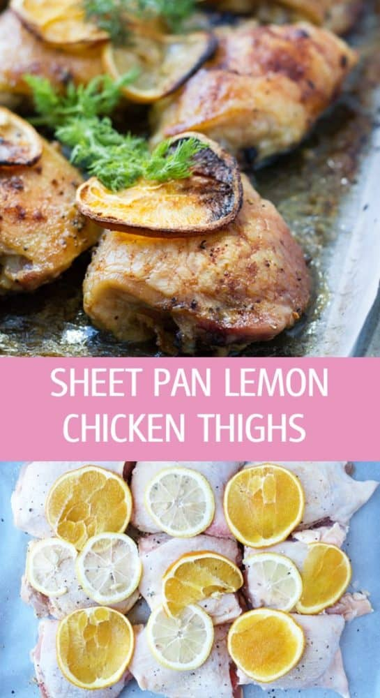 Easy sheet pan lemon chicken thighs recipe with oranges and butter. Baked chicken thighs great for entertaining or weeknight dinner by ilonaspassion.com I @ilonaspassion