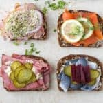 Scandinavian traditional sandwiches with meat and fish topped with pickles, roasted beets and lemon by ilonaspassion.com I @ilonaspassion