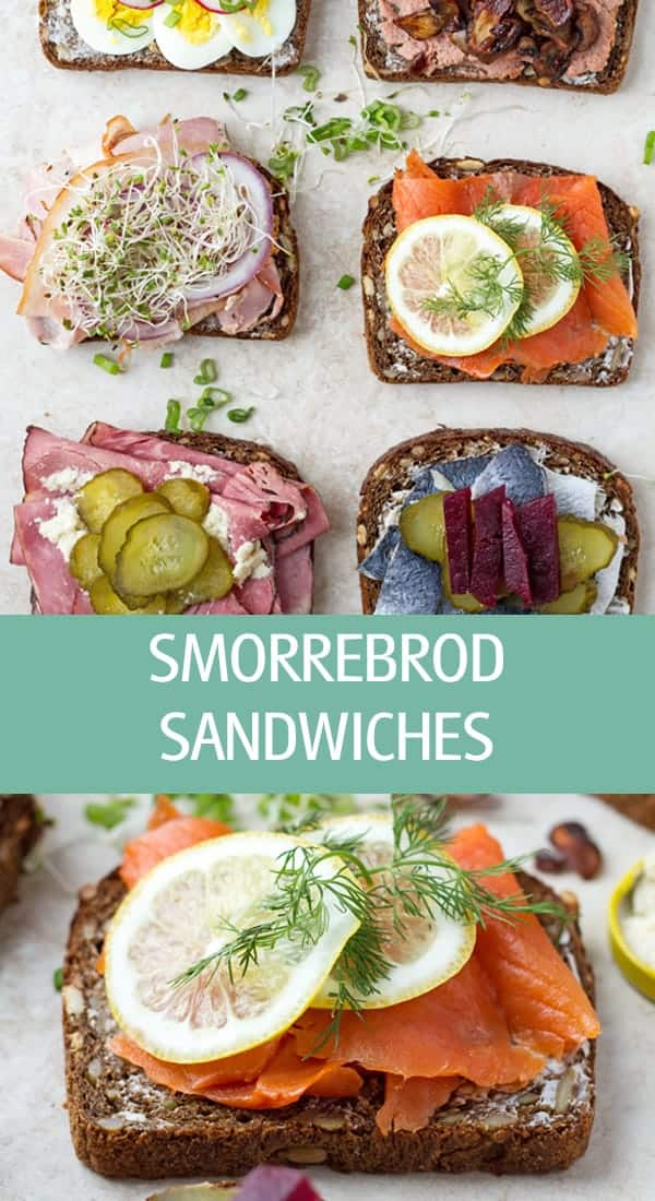 Smorrebrod open faced Danish traditional sandwiches recipe made with smoked salmon, liver pate, beef, pork, egg and herring by ilonaspassion.com I @ilonaspassion