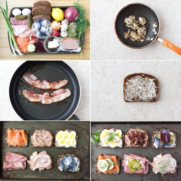 Step by step how to make Danish open faced sandwiches smorrebrod with rye bread and variety of toppings.