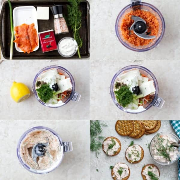 Step by step photo on how to make smoked salmon dip in food processor with lemon juice, salt, pepper and dill.