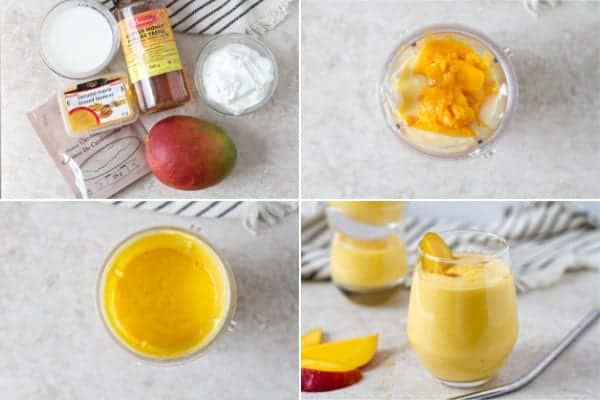 Step by step how to make an easy mango lassi drink.