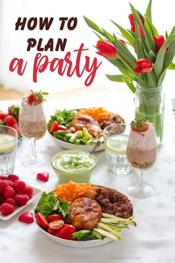 Complete event planning party ideas and tablescape with buddha bowl, chocolate mousse, tulips and berries.