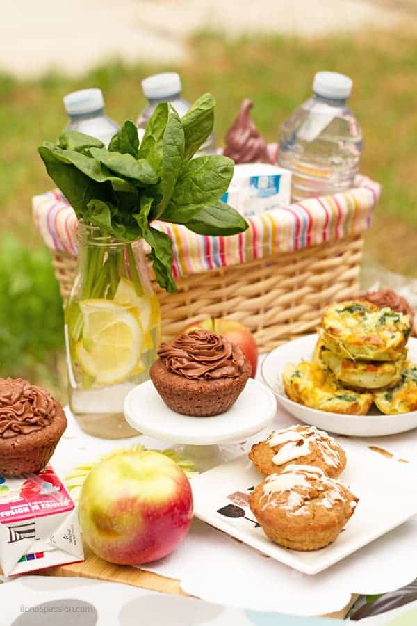 Picnic Ideas with food recipes juice boxes, basket, fresh apples.
