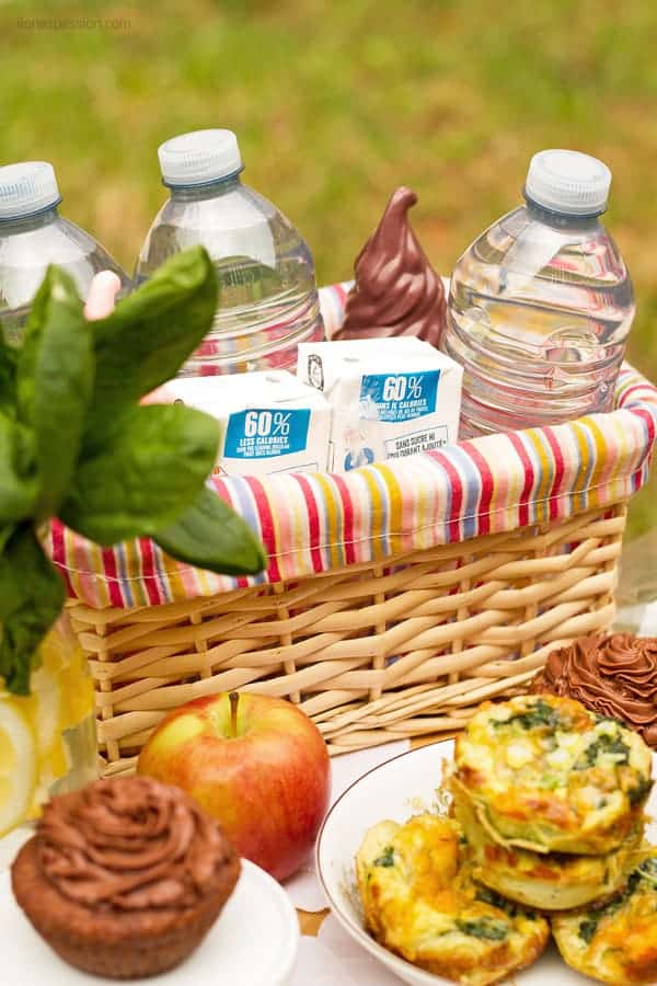 Basket with water, juices for picnic on a budget.