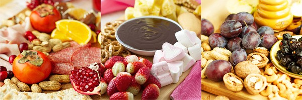 Party plan with cheese boards, chocolate fondue.