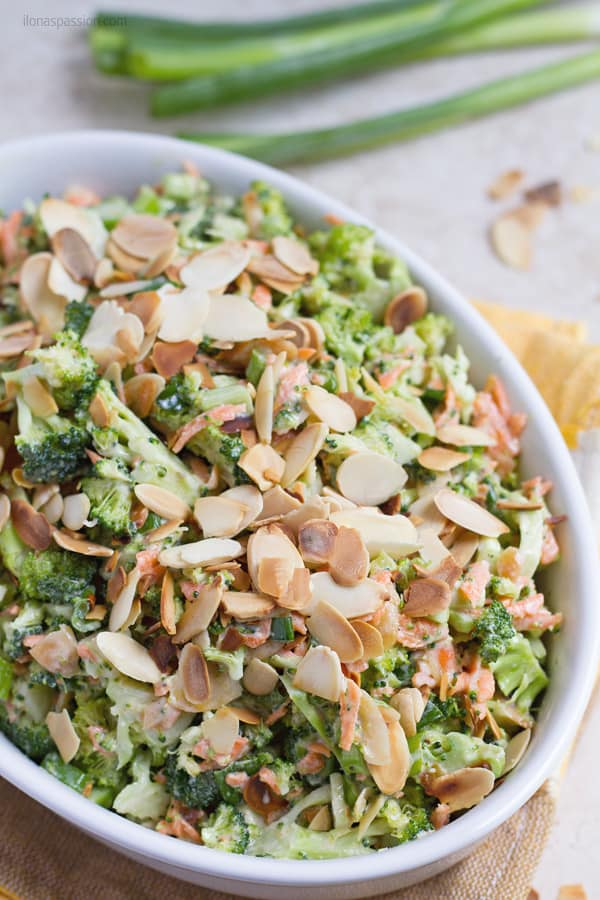 Raw healthy broccoli salad with homemade dressing.