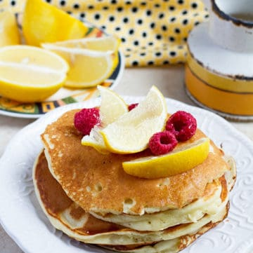 A stack of ricotta pancakes.