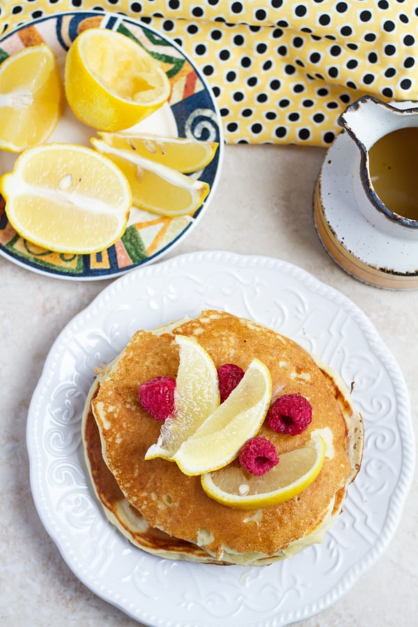 Pancake with lemon and raspberries.