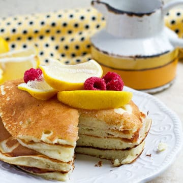 Lemon ricotta pancakes cut through.