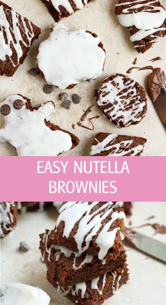 Nutella brownies cut with cookie cutters.